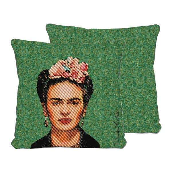 Dwustronna poszewka na poduszkę z domieszką lnu Madre Selva Frida Draw, 45x45 cm