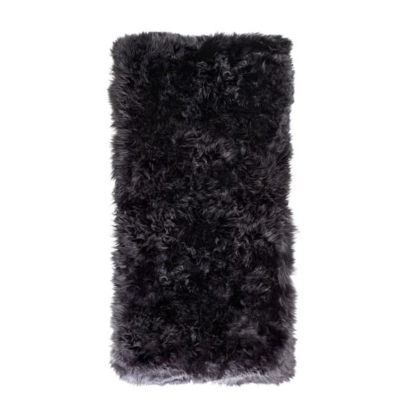 Černý koberec z ovčí kožešiny Royal Dream Zealand Natur, 70x140cm