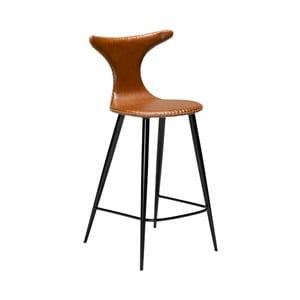 Koňakově hnědá barová židle z eko kůže DAN–FORM Denmark Dolphin, výška 97 cm