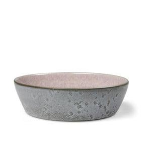 Šedá kameninová servírovací mísa s vnitřní glazurou v růžové barvě Bitz Mensa, průměr 18 cm