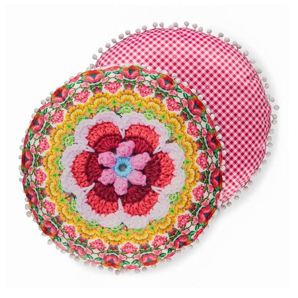 Dwustronna okrągła poduszka o aksamitnym wyglądzie HAPPINESS Ziyani, ø 55 cm