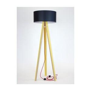 Žlutá stojací lampa s černým stínítkem a červeným kabelem Ragaba Wanda