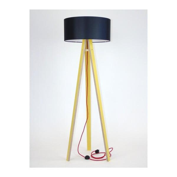 Wanda sárga állólámpa, fekete búrával és piros kábellel - Ragaba