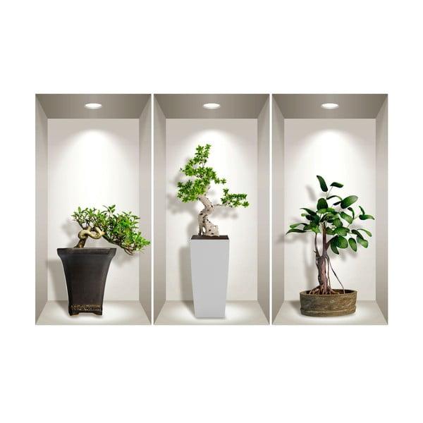Komplet 3 naklejek ściennych 3D Ambiance Bonsai Plants