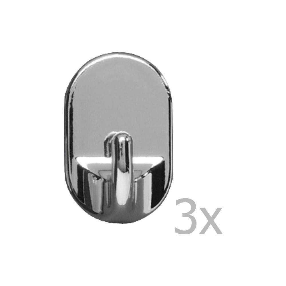 Sada 3 nástěnných háčků Wenko Medium Oval Hooks Chrome