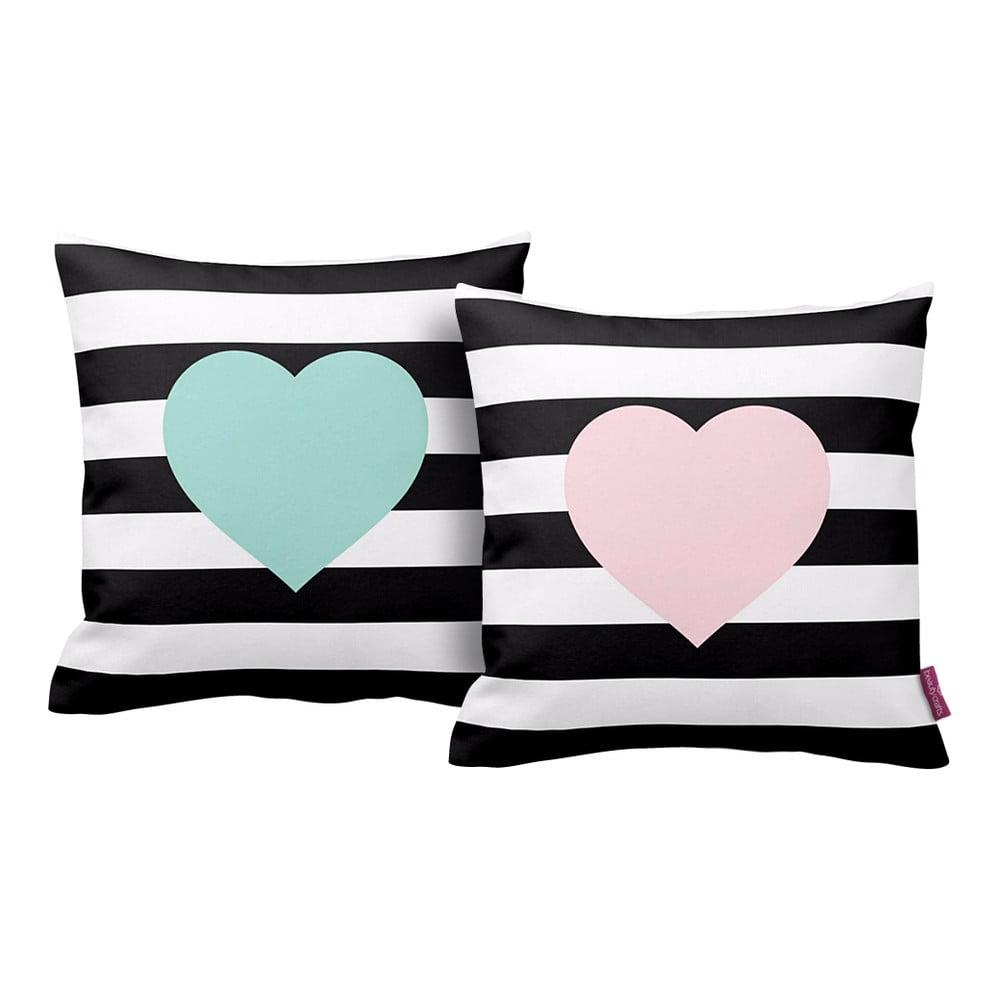 Sada 2 polštářů Homemania Hearts, 43 x 43 cm