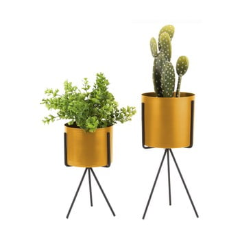 Set 2 suporturi din fier pentru flori PT LIVING Pedestal, galben ocru