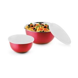 Set 2 boluri cu capac pentru cuptorul cu microunde Bonita, roșu