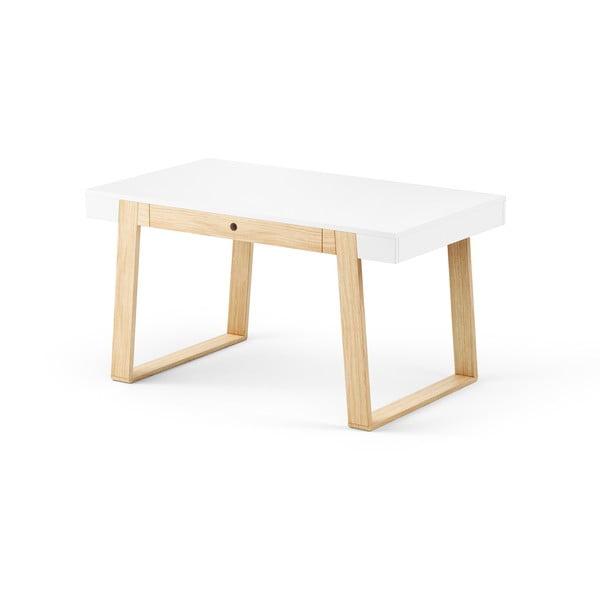 Jídelní stůl z dubového dřeva s bílou deskou a bílými detaily Absynth Magh, 140x80cm