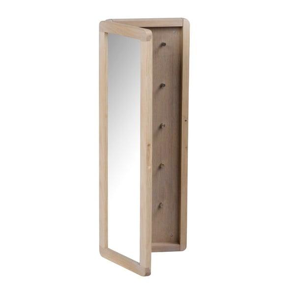 Matowa szafka dębowa na klucze z lustrem Rowico Metro