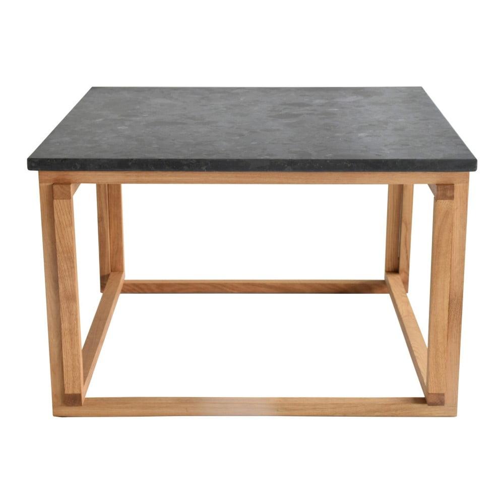 Černý žulový odkládací stolek s podnožím z dubového dřeva RGE Accent, šířka75cm