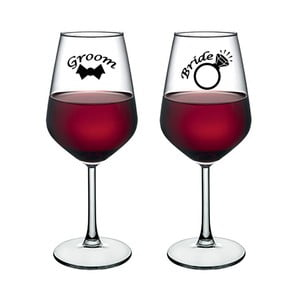 Sada 2 sklenic na víno Vivas Bride & Groom Dos, 345 cm
