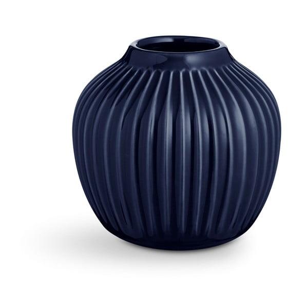 Tmavě modrá kameninová váza Kähler Design Hammershoi,výška 12,5 cm