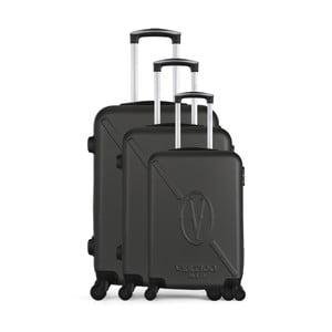 Sada 3 tmavě šedých cestovních kufrů na kolečkách VERTIGO Cadenas Integre Moues
