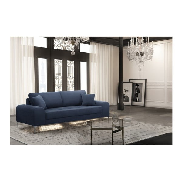 Set canapea albastru închis cu 3 locuri, 4 scaune negre, o saltea 160 x 200 cm Home Essentials