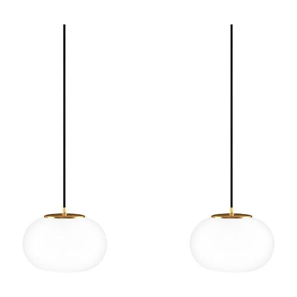 Dvojité závěsné svítidlo z opálového skla se zlatou objímkou Sotto Luce DOSEI