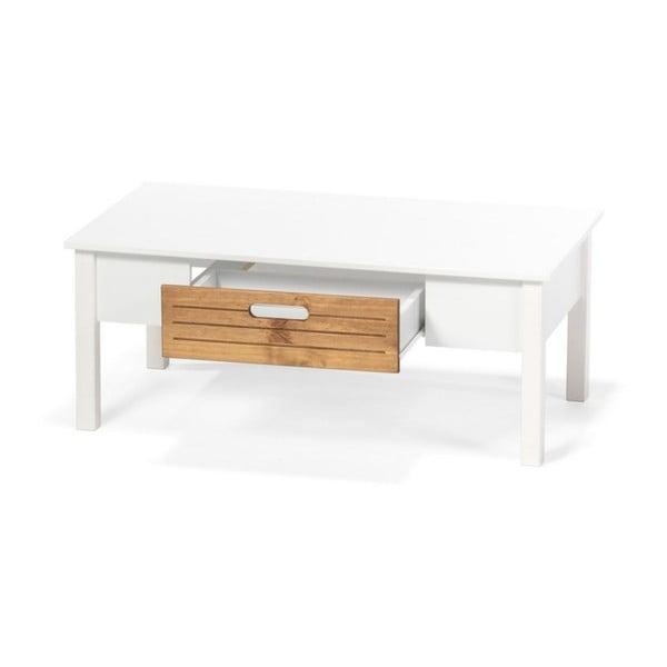 Masă de cafea din lemn de pin și sertar loomi.design Ibiza, alb