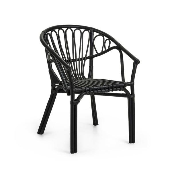 Czarny fotel rattanowy La Forma Corynn