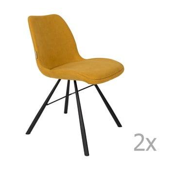 Set 2 scaune Zuiver Brent, galben muștar de la Zuiver