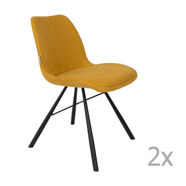 Set 2 scaune Zuiver Brent, galben muștar