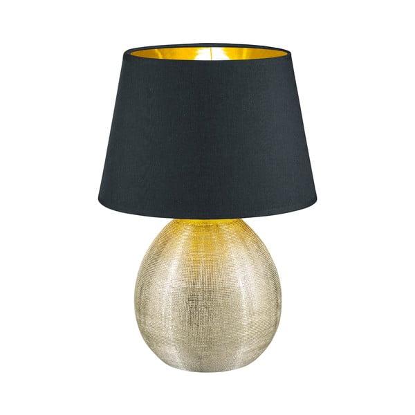 Čierna stolová lampa z keramiky a tkaniny Trio Luxor, výška 35 cm