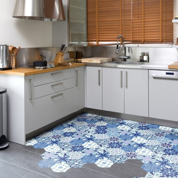 Set 10 autocolante pentru podea Ambiance Hexagons Alesandro, 20 x 18 cm