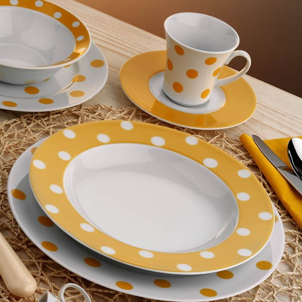 Porcelánový talířový set Yasemin Yellow, 24 ks