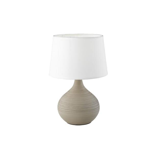 Bílo-hnědá stolní lampa z keramiky a tkaniny Trio Martin, výška 29 cm