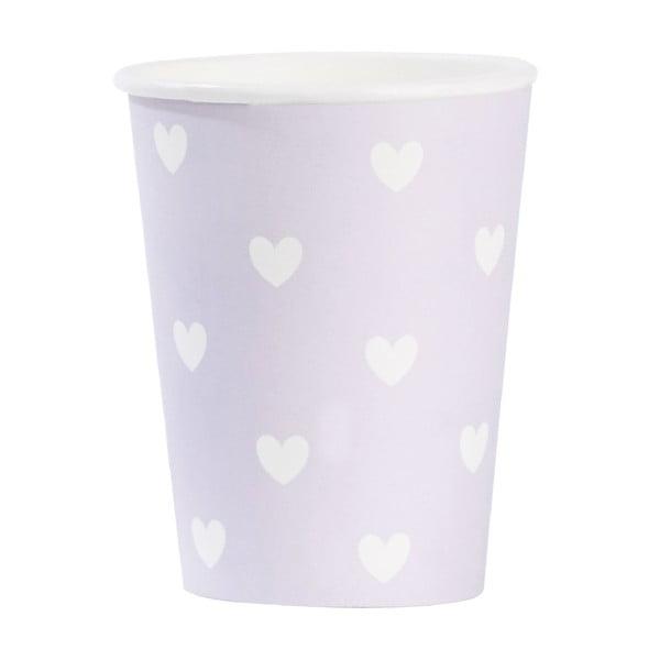 Sada papírových kelímků Miss Étoile Lavender Hearts, 8 ks