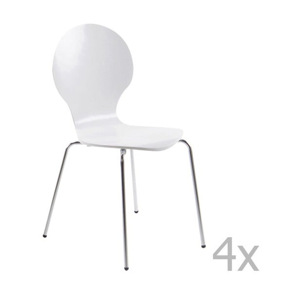 Set 4 scaune Actona Marcus Dining Chair, alb