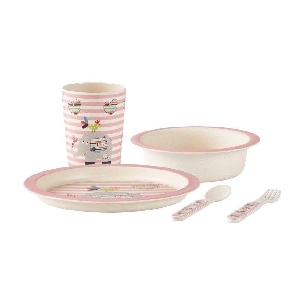 Dětský růžový jídelní set z bambusu KJ Collection