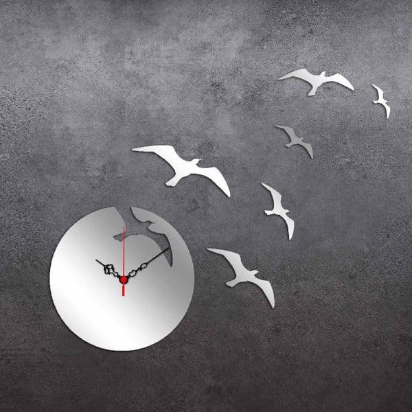 Nástěnné zrcadlové hodiny Birds Moon