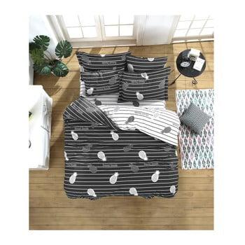 Lenjerie de pat cu cearșaf din bumbac ranforce, pentru pat dublu Mijolnir Inside Anthracite, 200 x 220 cm