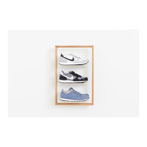 Police na boty z dubového dřeva das kleine b Basti, 39 x 61 cm