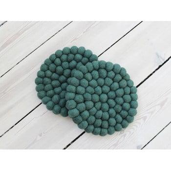 Suport pahar, cu bile din lână Wooldot Ball Coaster, ⌀ 20 cm, verde închis imagine