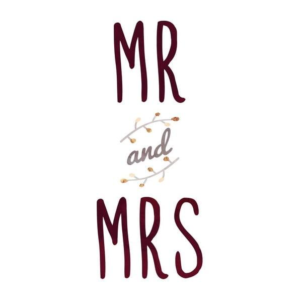 Plakát v dřevěném rámu Mr. and Mrs., 38x28 cm