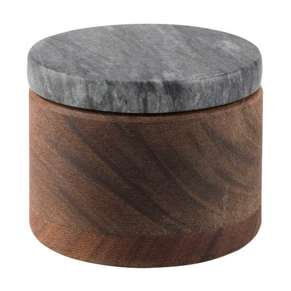 Dóza z akáciového dřeva s černým mramorovým víkem Creative Tops