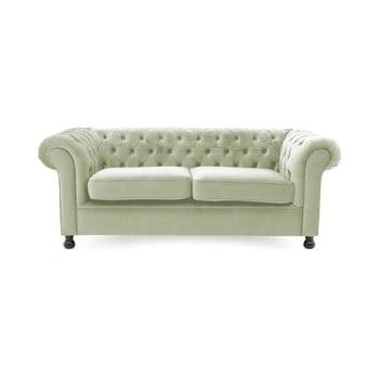 Canapea 3 locuri Vivonita Chesterfield, verde deschis