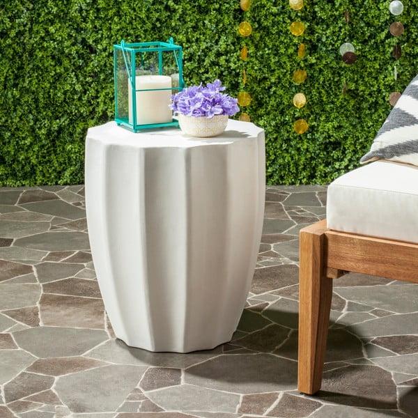 Bílý betonový zahradní stolek vhodný do exteriéru Safavieh Akira