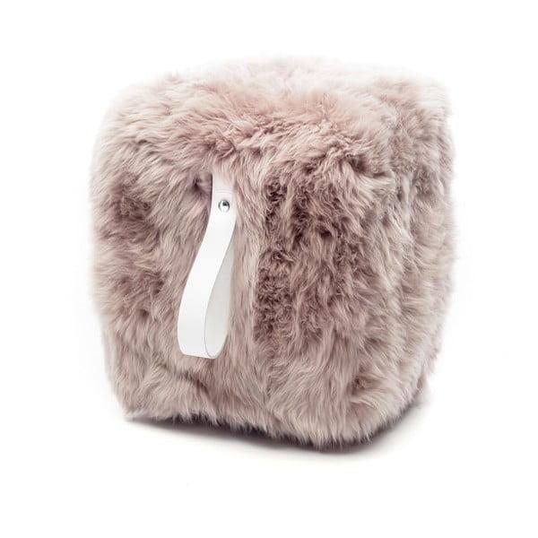Hnědo-bílý světlý hranatý puf z ovčí vlny Royal Dream