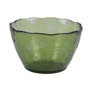 Zelená skleněná miska EgoDekorFlora, 14 cm