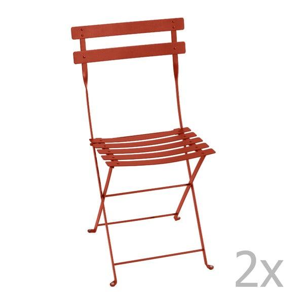 Sada 2 oranžovočervených skládacích židlí Fermob Bistro