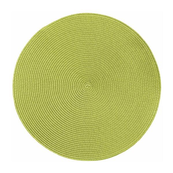 Zielona okrągła mata stołowa Tiseco Home Studio Round Chambray, ø 38 cm