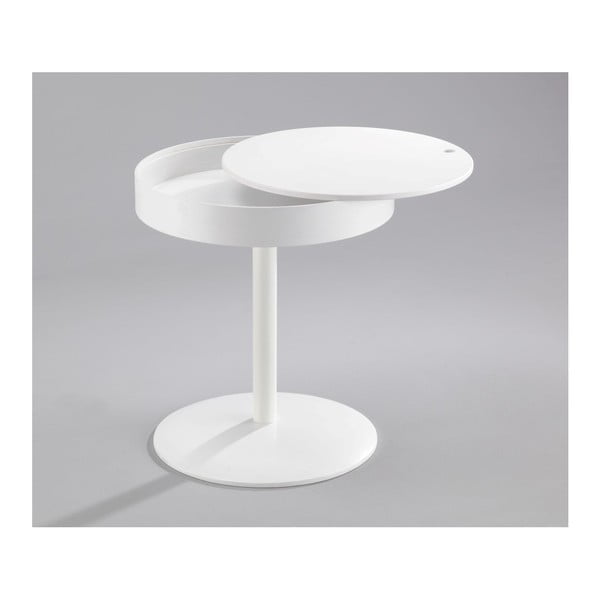 Bílý odkládací stolek s úložným prostorem Design Twist Lampang