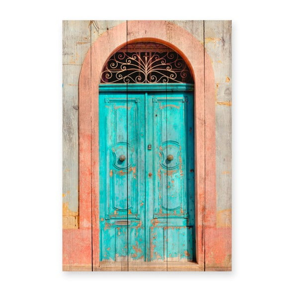 Tablou din lemn de pin Really Nice Things Door, 40 x 60 cm