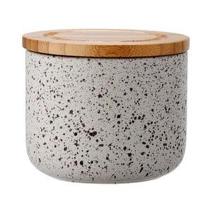 Šedá keramická dóza s bambusovým víkem Ladelle Speckle, výška 9cm
