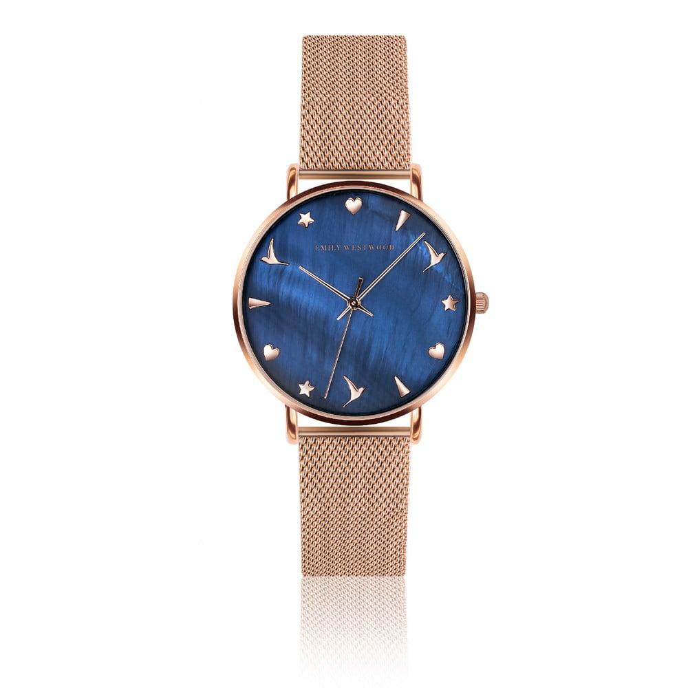 Dámské hodinky s páskem z nerezové oceli v růžovozlaté barvě Emily Westwood Daisy