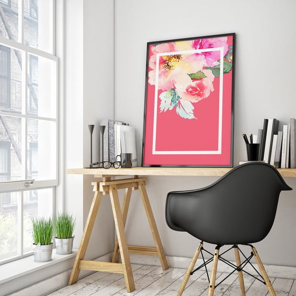 Plakát s květinami, růžové pozadí v bílém rámečku, 30 x 40 cm