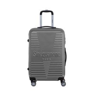Tmavě šedý cestovní kufr na kolečkách s kódovým zámkem SINEQUANONE Trimy, 71l