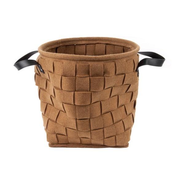Storage barna tárolókosár bőr fogantyúval, ⌀ 34 cm - PT LIVING